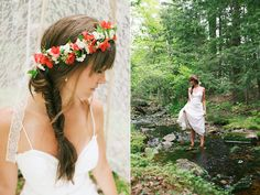 wedding hair with floral crown