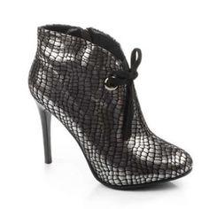 Botine argintii cu siret si toc subtire Boots, Fashion, Crotch Boots, Moda, Fashion Styles, Shoe Boot, Fasion