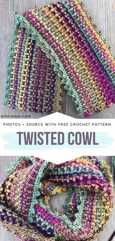 Twisted Cowl Free Crochet Pattern Infinity scarves are definitely my favorite. Y… Twisted Cowl Free Crochet Pattern Infinity scarves are One Skein Crochet, Crochet Cowl Free Pattern, Crochet Gratis, Crochet Scarves, Crochet Shawl, Crochet Stitches, Crochet Hooks, Free Crochet, Knitting Patterns