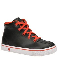 """K. Swiss """"Clean Laguna Hi"""" Sneakers (Toddler Boys Sizes 6 - 10) K-Swiss. $29.99. rubber sole. leather. Fabric lining. Cushioned midsole. Leather upper. Set him up with cool style in this classic sneaker. Vulcanized, flexible rubber outsole"""