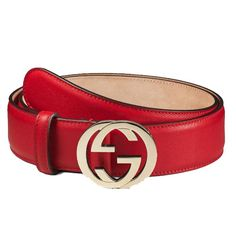 c0928d1fbc0 Gucci Women s Red Leather Belt with Interlocking G Buckle 370543 Size 40