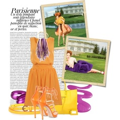 Loving this sherbert orange and purple combo...created by jelenapetrosanec on Polyvore