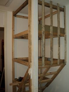 above stairs storage Over Stairs Storage, Staircase Storage, Attic Staircase, Stair Storage, House Stairs, Garage House, Primitive Cabinets, Hallway Walls, Attic Remodel