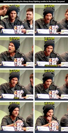 [gifset] Jared's reaction to the understand of AKF candles :) warms my heart! #SDCC15