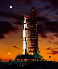 A pre-launch twilight photo of the The Apollo 11 Saturn V space vehicle. It lifted off July 16, 1969 from Kennedy Space Center in Florida. The space craft was injected into lunar orbit July 19, 1969 with Astronauts Neil A. Armstrong, Michael Collins and Edwin E. Aldrin Jr. on board. (Photo by NASA/Newsmakers) #