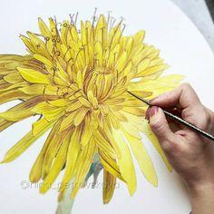 Yellow flower drawing. Nina Petrovskaya