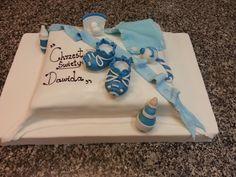 """Tort na chrzciny """"Dawida"""" biało niebieski piękny"""
