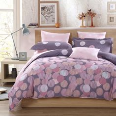 Pale Pink Grey and White Shabby Chic Polka Dot Design Old World Style Unique 100% Cotton Damask Full, Queen Size Bedding Sets
