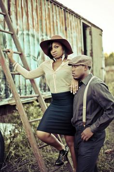 A Fantastic Bonnie & Clyde Themed Engagement Shoot