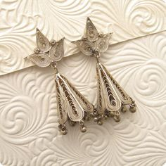 Silver Filigree Bell Earrings Vintage E5121 by PurpleDaisyJewelry, $28.00