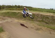 Terrific drone photo of Motocross bike in the air