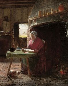 'Reading by the Fire' (1857) British painter Frederick Daniel Hardy (1826-1911).