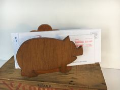 Adorable Folk Art Wood Pig Napkin Holder Repurpose for Mail or Desk Organizer Gift for her, gift for him, Pig Lovers Country Decor kitsch by TheDustyWingVintage on Etsy
