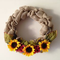 Sunflower Red Daisy Cattail Burlap Fall Wreath by MulberryMadeCrafts on Etsy Red Daisy, Fall Crafts, Handmade Crafts, Burlap Wreath, Wreaths, Unique Jewelry, Etsy, Vintage, Autumn Crafts