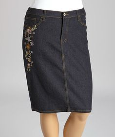 Loving this Black Floral Embroidered Denim Pencil Skirt - Plus on #zulily! #zulilyfinds