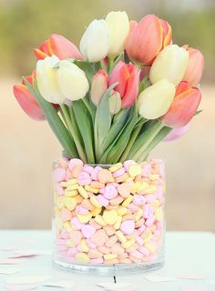 Tulips & Hearts- Great for Spring Wedding Centrepiece