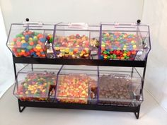 With this Jumbo Mini Bin Display Rack counter top display giving your customers a variety of choices is not a problem. Candy Containers, Candy Jars, Movie Theater Rooms, Dollar Tree Organization, Hangout Room, Candy Display, First Apartment Decorating, Snack Bar, Candy Store