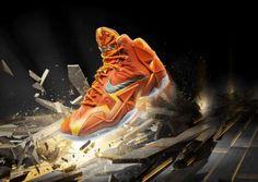 NIKE LEBRON 11 URBAN ORANGE/LIGHT ARMORY BLUE-LASER ORANGE #sneaker