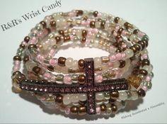 Sandy Pink Bling Beaded Bracelets by RandRsWristCandy on Etsy, $9.00