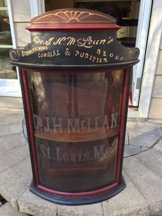 Pictured is an early medicinal General Store Cabinet from Dr. McLean which was used to sell his quack medicines in the early Vintage Medical Cabinet, Antique Display Cabinets, Door Displays, Industrial Revolution, General Store, Sliding Glass Door, Wood Cabinets, Vintage Advertisements, Craft Fairs