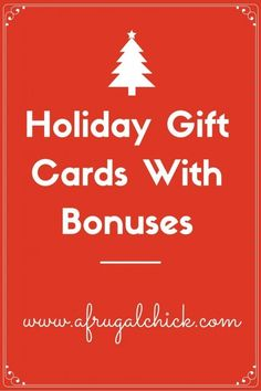 Holiday Gift Cards With Bonuses - Finance tips, saving money, budgeting planner Frugal Christmas, Christmas Shopping, Holiday Deals, Holiday Gifts, Frugal Family, Frugal Living, Money Saving Meals, Budget Planner, Ways To Save Money