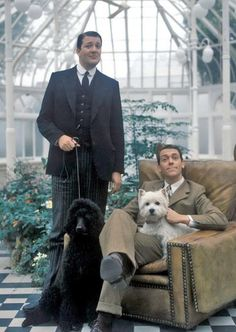 Stephen Fry and Hugh Laurie (before there was House) with a Standard Poodle and a Westie.from Jeeves and Wooster,BBC. British Comedy, British Actors, British Humor, Westies, Westie Dog, Chihuahua Dogs, Puppies, Jeeves And Wooster, Detective