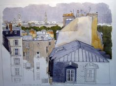 Paris by Fabrice Moireau. controlled and detailed Watercolor City, Watercolor Sketchbook, Watercolor Paintings, Watercolours, Cityscape Drawing, Sketch Painting, Drawing Sketches, Paris Illustration, Illustrations