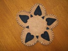 Primitive Country  Black Hearts Candle Mat/Mug Rug  w/free shipping