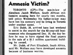 Clipping found in The Ottawa Journal in Ottawa, Ontario, Canada on Feb Amnesia Victim? Son In Law, Amnesia, Ottawa, Memories, Memoirs, Souvenirs, Remember This