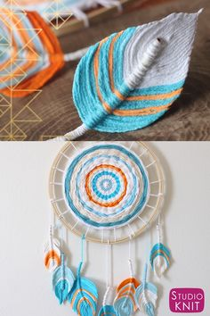 Feather Dreamcatcher DIY So pretty! A Fun Boho DIY Everyone Can Make! Learn how to craft this easy project with Studio Knit.So pretty! A Fun Boho DIY Everyone Can Make! Learn how to craft this easy project with Studio Knit. Diy Crafts Love, Diy Home Crafts, Diy Crafts To Sell, Sell Diy, Easy Yarn Crafts, Home Crafts Diy Decoration, Diy Crafts Useful, Fabric Crafts, Yarn Crafts For Kids