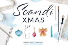 Scandi Xmas Watercolor Collection by beauty drops on @creativemarket