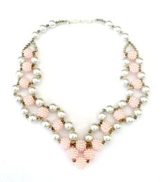 21 Pink Glass Pearl and Pink Pearl Cluster Beaded Necklace and Earring Set.