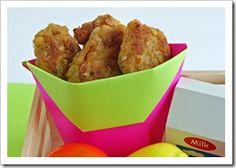 Chickenless chicken nuggets. Garbanzo beans, onion, garlic, baking powder, egg, lemon, allowed oil, allowed seasonings.