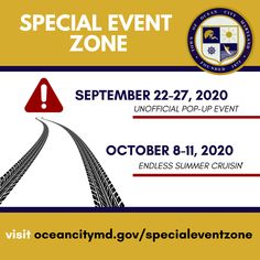 Ocean City has established a Special Event Zone on September 22-27 and October 6-11. The Special Event Zone helps deter motor violations by lowering speed limits and increasing fines and penalties. Residents and visitors should expect extreme traffic delays, alternate traffic patterns and a heavy police presence. Visit oceancitymd.gov/specialeventzone for more information. ☀️🚙 Post courtesy @townofoceancity @oceancitymaryland 🔆 #exploreworcester #ocmd #oceancitymd beachandbeyond.org Maryland Beaches, Ocean City Md, Speed Limit, Worcester, Special Events