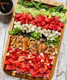 This Watermelon Strawberry Salad with Chicken makes for a beautiful summer board! Radish Recipes, Salad Recipes, Healthy Recipes, Easy Salads, Summer Salads, Strawberry Summer, Dinner Party Recipes, Dinner Ideas, Spring Salad