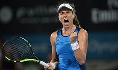 Johanna Konta celebrates beating Eugenie Bouchard in their semi-final match at the Sydney International