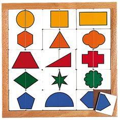 --- vormen sorteren --- Inlegplank waarbij de kinderen steeds twee helften zoeken die samen een geometrisch figuur vormen.   Formaat: 34 x 34 cm (l x b). 522 416