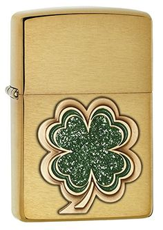 Classic Zippo Brush Brass finish lighter featuring a stunning four leaf clover is sure to put good luck in your pocket. Brilliant color accents and sparkling domed epoxy inlay mark the top layers of the multi-level emblem. Comes packaged in an environmen Bongs, Environmentally Friendly Gifts, Cool Lighters, Zippo Lighter, Accent Colors, Color Accents, Messages