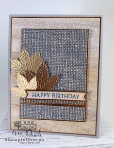 Creative Birthday Cards, Homemade Birthday Cards, Birthday Cards For Friends, Masculine Birthday Cards, Masculine Cards, Creative Cards, Leaf Cards, Make Your Own Card, Fall Birthday