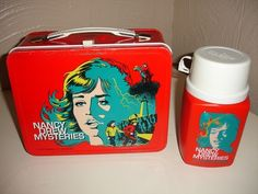 This was my lunch box in elementary school...  loved it! 1977 Nancy Drew Mysteries Metal Lunch Box Thermos King Seeley