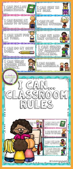 "This resource includes 18 illustrated classroom rules posters with ""I can..."" statements. Each page contains two rules. Just print, cut, laminate and use. Great for classroom rules pocket charts or classroom rules bulletin board displays. Positive classro"