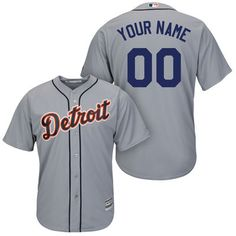 efd07275f Men's Detroit Tigers Majestic Gray Cool Base Custom Jersey. Perfect for Dad  on Father's Day