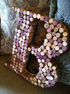 What to do with those Corks ~ Monogram B Wine Cork Wall Hanging by BoogieBuddies on Etsy, Wine Bottle Corks, Wine Bottle Crafts, Liquor Bottles, Cork Crafts, Diy Crafts, Wine Cork Monogram, Cork Letters, First Home Buyer, Cork Wall