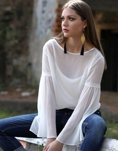 White view Bell Sleeves, Bell Sleeve Top, Tops, Women, Fashion, Moda, Fashion Styles, Shell Tops, Fashion Illustrations