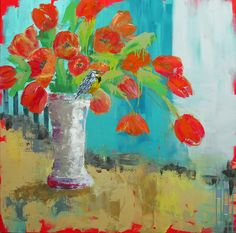 """Orange Tulips With Little Bird"" by Jennifer Drummond Ferris; Mixed Media ~ 36"" x 36""; $1,250  © 2012 Jennifer Drummond Ferris"