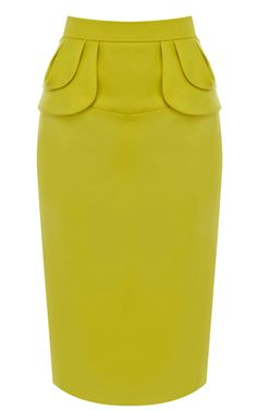 Yellow Midi Pencil Skirt with peplum detail. i don't think i could pull off this shade of yellow but it's a beautiful skirt