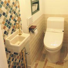 カフェ風/新築/エッセンス手洗器/トイレ/施主支給/コラベル…などのインテリア実例 - 2015-10-05 16:58:15 | RoomClip(ルームクリップ) Basement Bathroom, Washroom, Toilet Room, Natural Interior, Corner Bathtub, Sink, Interior Design, Home Decor, Interior Decorating