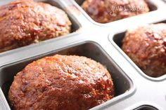 Petite Turkey Meatloaves can be cooked in Pampered Chef mini loaf pan Skinny Recipes, Ww Recipes, Turkey Recipes, Low Carb Recipes, Cooking Recipes, Healthy Recipes, Skinnytaste Recipes, Healthy Meals, Beef Recipes