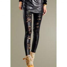 Wholesale Stylish Rip Design Lace Embellished Legging For Women (BLACK), Leggings - rosewholesale.com
