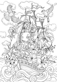 On the Waves - Printable Adult Coloring Page from Favoreads Coloring book pages for adults and kids Coloring sheets Coloring designs Coloring Pages For Grown Ups, Detailed Coloring Pages, Fairy Coloring Pages, Printable Adult Coloring Pages, Coloring Pages To Print, Free Coloring, Coloring Books, Kids Coloring, Coloring Sheets